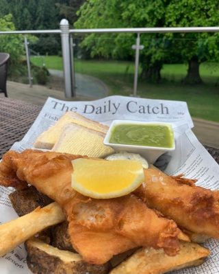 What better way to celebrate National Fish and Chip Day than with Jennings beer-battered haddock, hand-cut chips, garden peas and tartar sauce in the Brasserie?  Book your table today on 017687 76551. #armathwaitehall #outdoordining #summer #nationalfishandchipday #lakedistrict #lakedistrictuk
