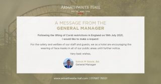 To protect all guests and staff, we kindly ask guests to continue to wear a face covering in all public areas of the hotel.  Thank you again on behalf of all of us here at Armathwaite Hall Hotel and Spa. #armathwaitehall #COVID19update