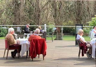 Soaking up the sunshine on the Lime Trees Terrace ☀️   Open daily 12-5pm join us on the Terrace for lunch or cream tea.  To book call 017687 76551  #outdoordining #outdoordiningkeswick #diningontheterrace